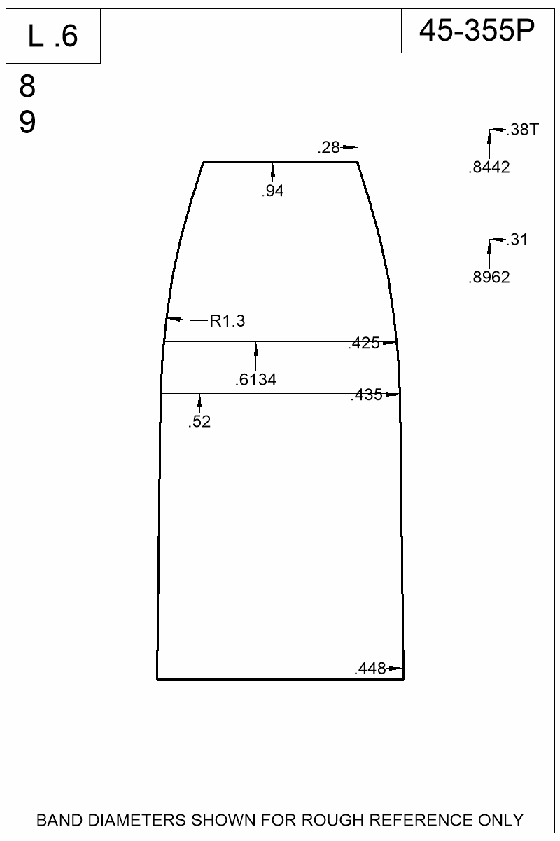 Dimensioned view of bullet 45-355P.
