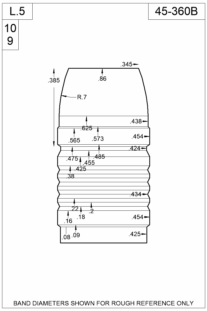 Dimensioned view of bullet 45-360B.