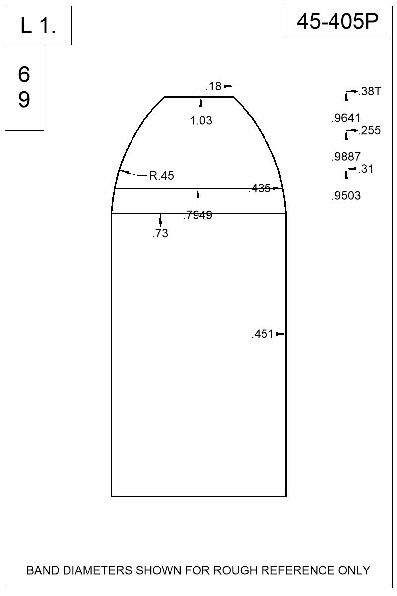 Dimensioned view of bullet 45-405P.