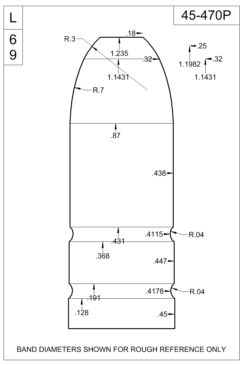 Dimensioned view of bullet 45-470P.