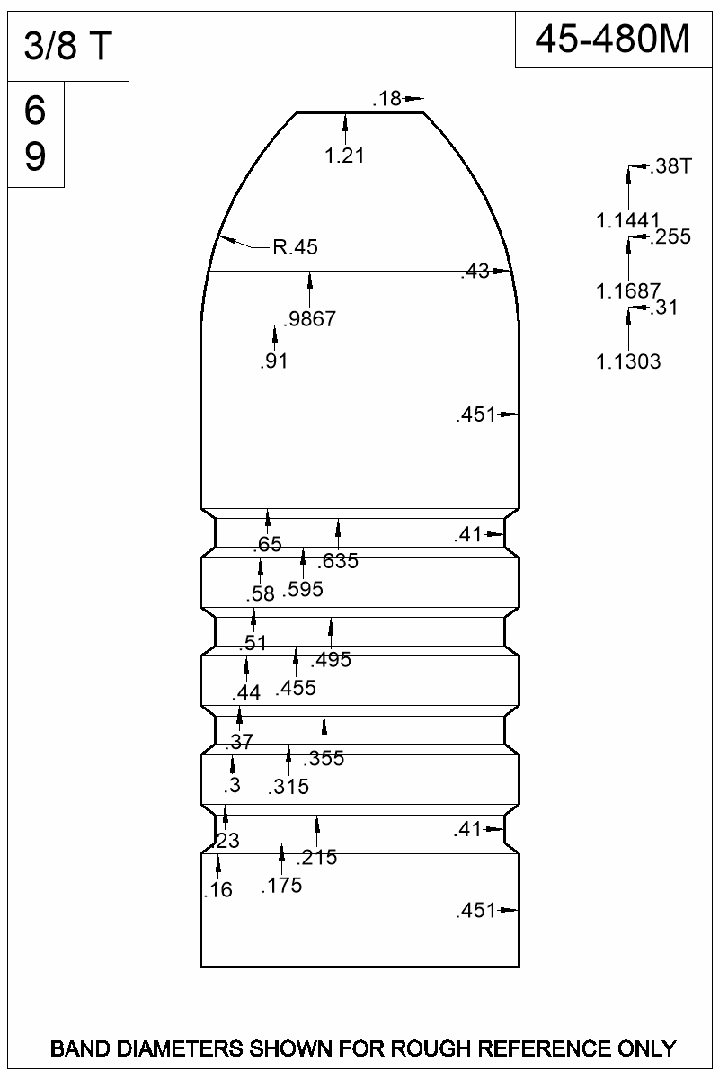 Dimensioned view of bullet 45-480M.