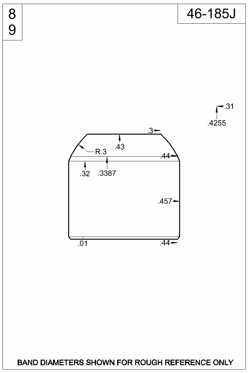 Dimensioned view of bullet 46-185J.
