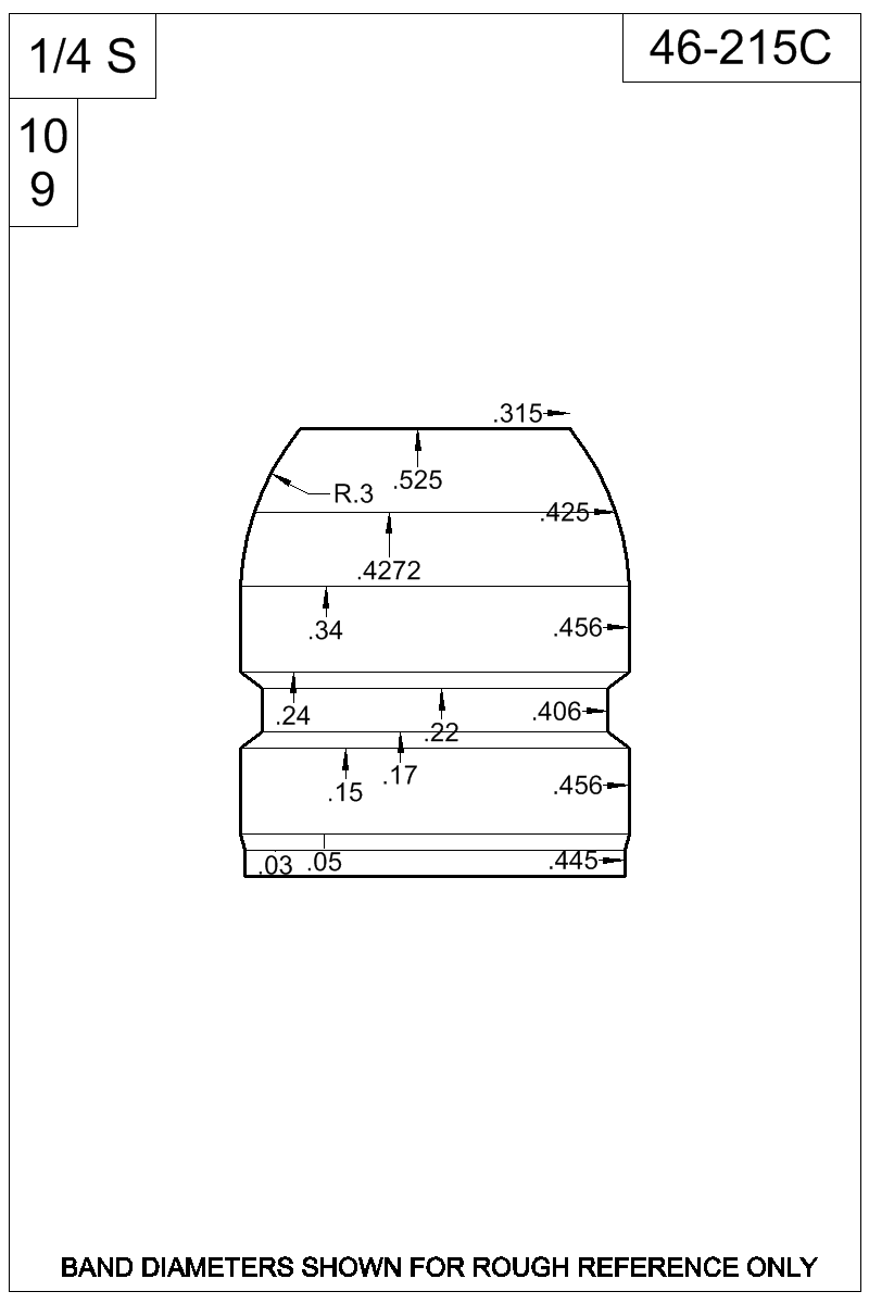 Dimensioned view of bullet 46-215C.