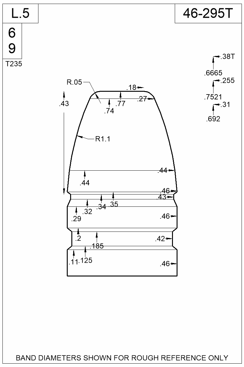 Dimensioned view of bullet 46-295T.