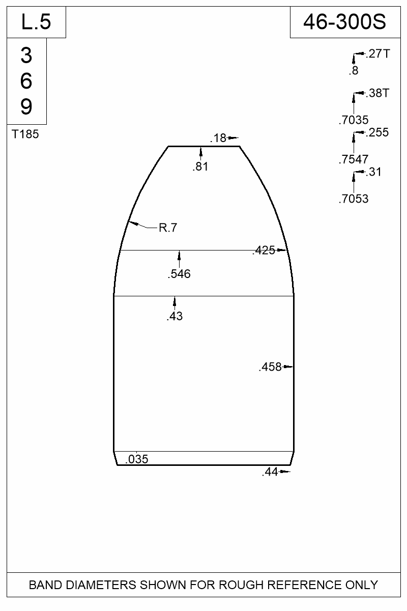 Dimensioned view of bullet 46-300S.