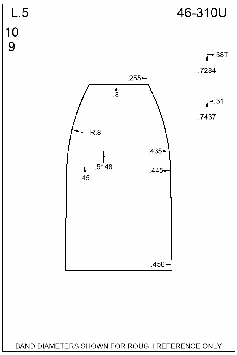 Dimensioned view of bullet 46-310U.