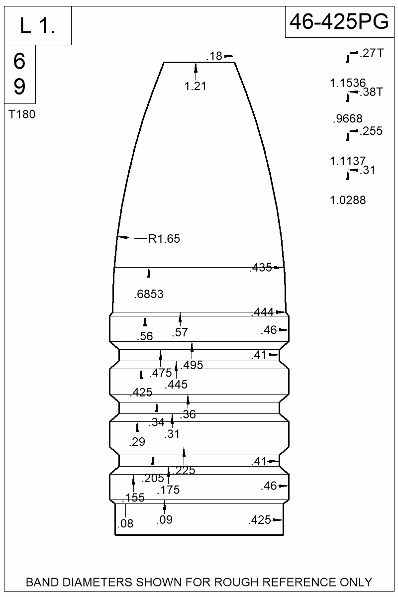 Dimensioned view of bullet 46-425PG.