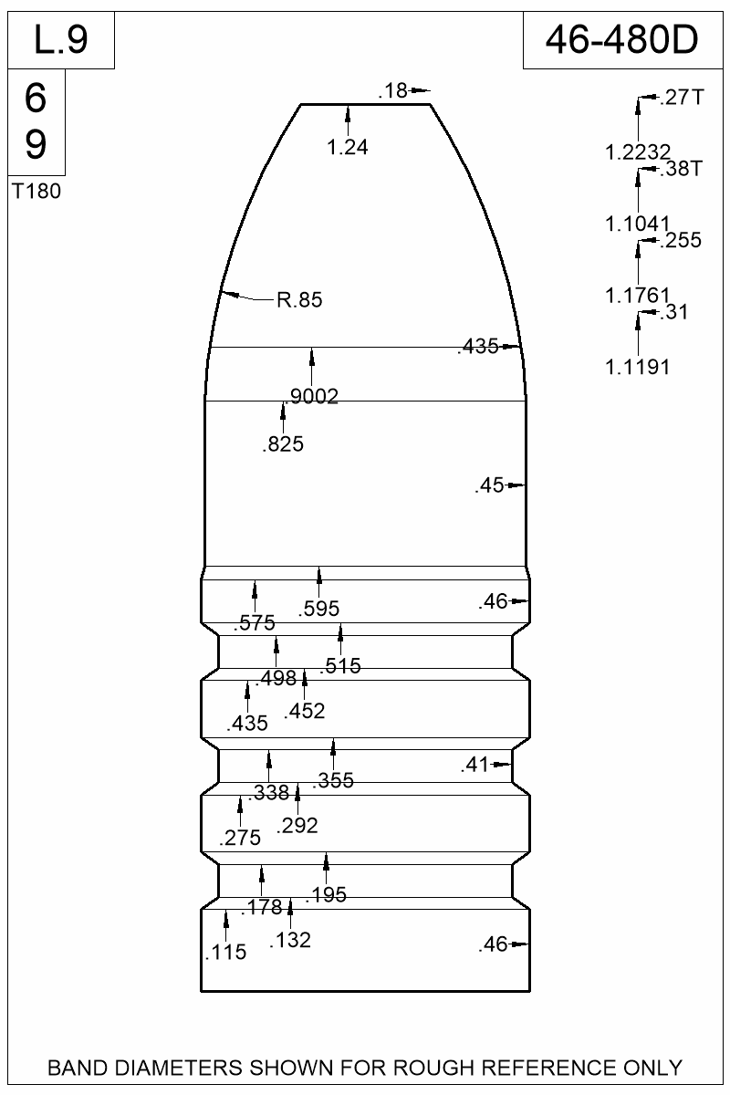 Dimensioned view of bullet 46-480D.