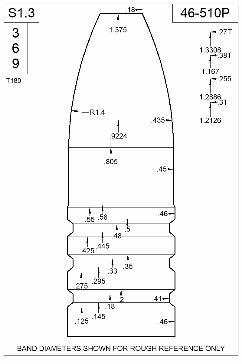 Dimensioned view of bullet 46-510P.