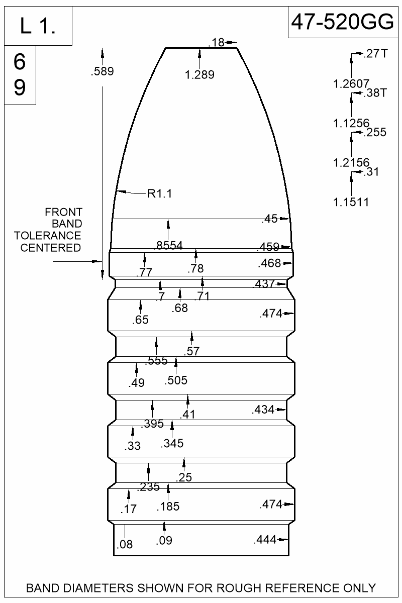 Dimensioned view of bullet 47-520GG.