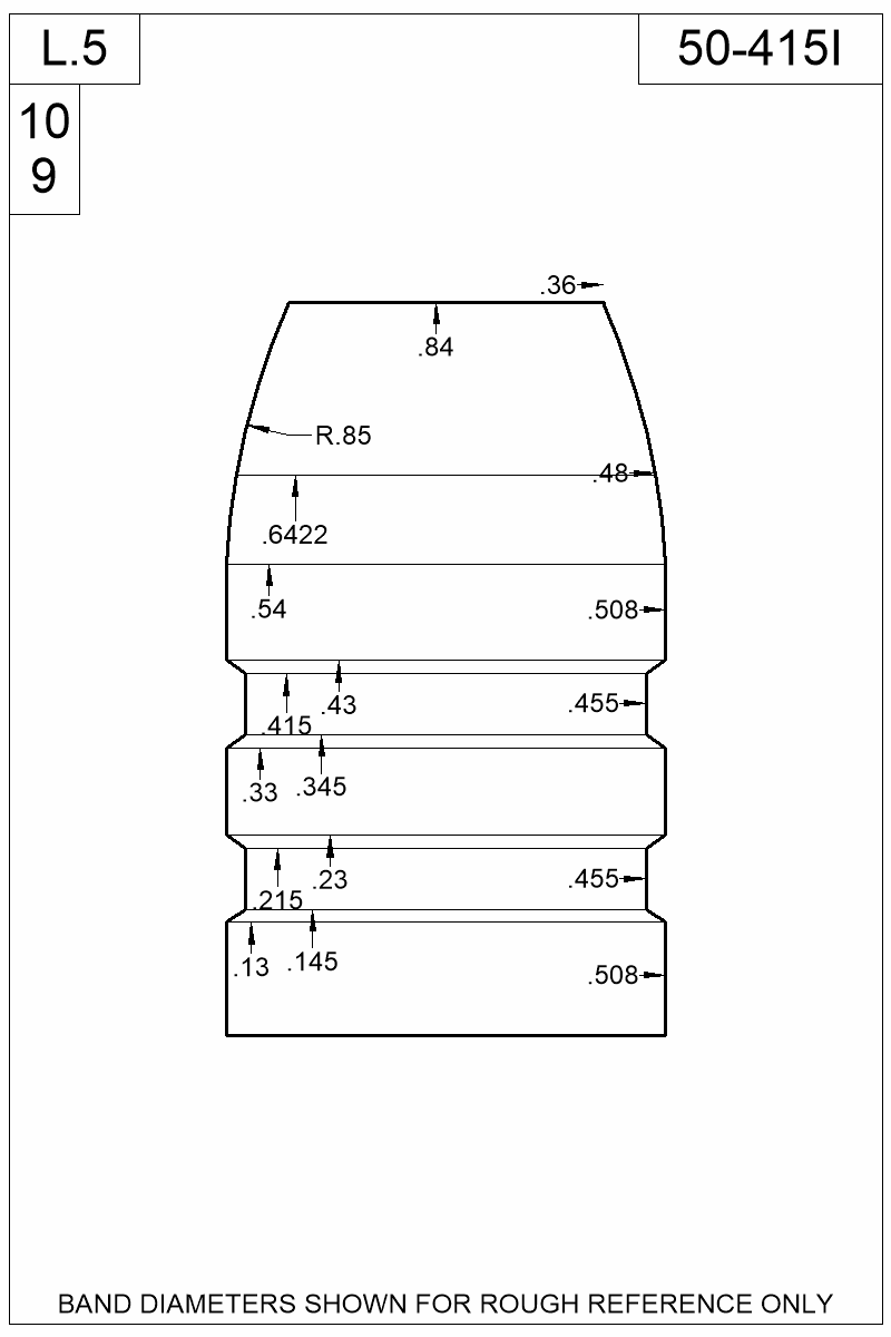 Dimensioned view of bullet 50-415I.