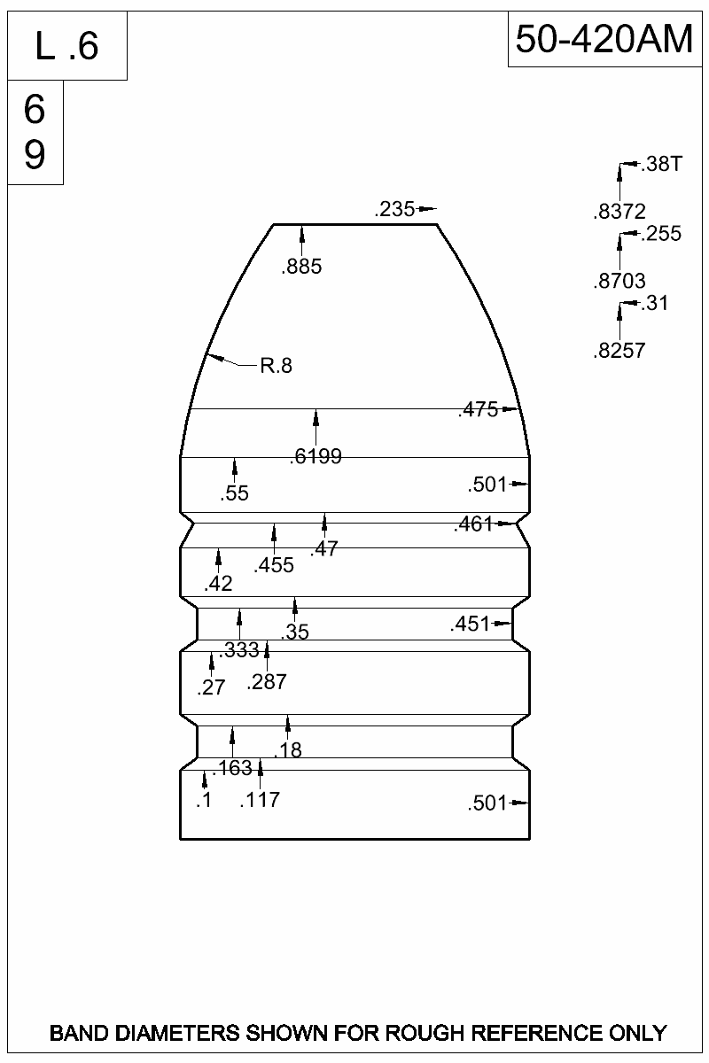 Dimensioned view of bullet 50-420AM.