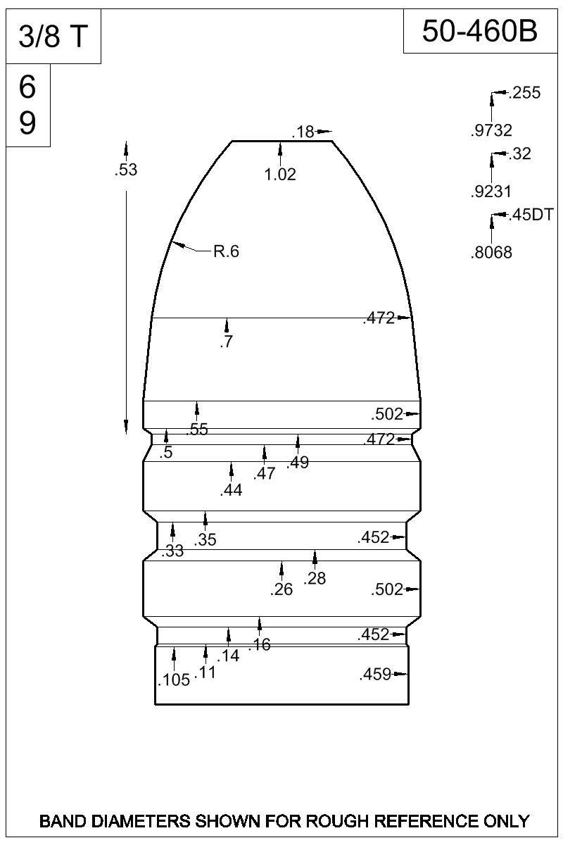 Dimensioned view of bullet 50-460B.