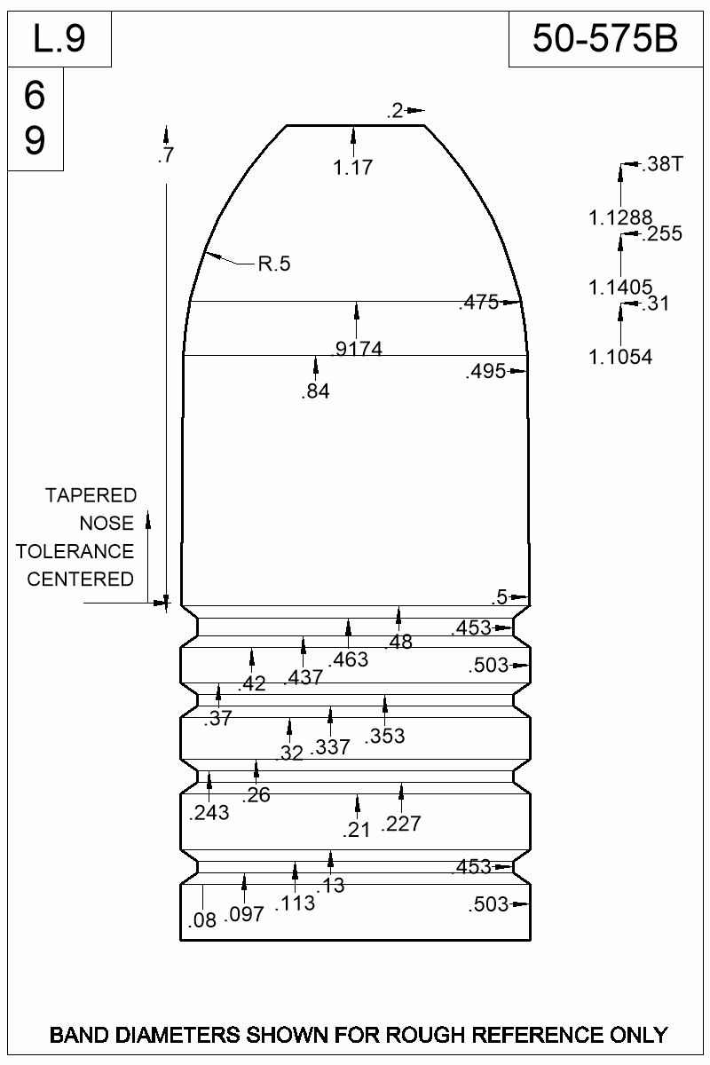 Dimensioned view of bullet 50-575B.