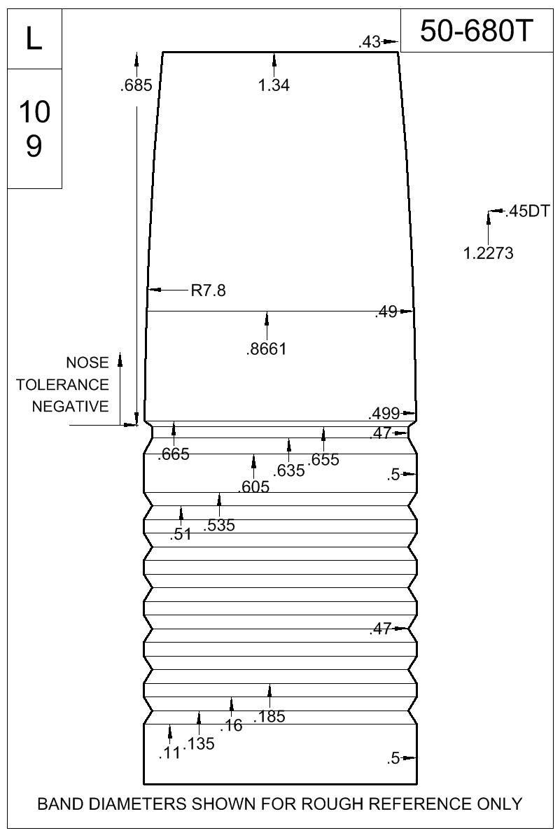 Dimensioned view of bullet 50-680T.