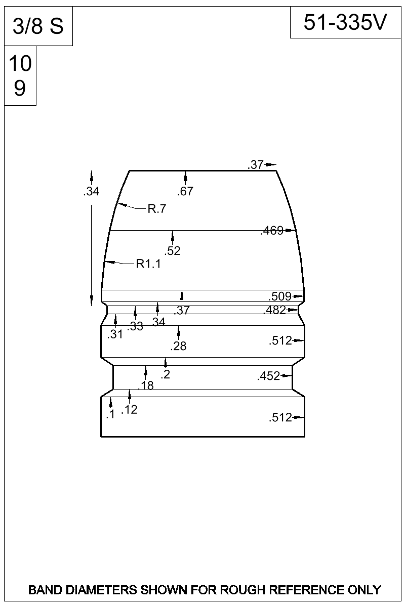 Dimensioned view of bullet 51-335V.