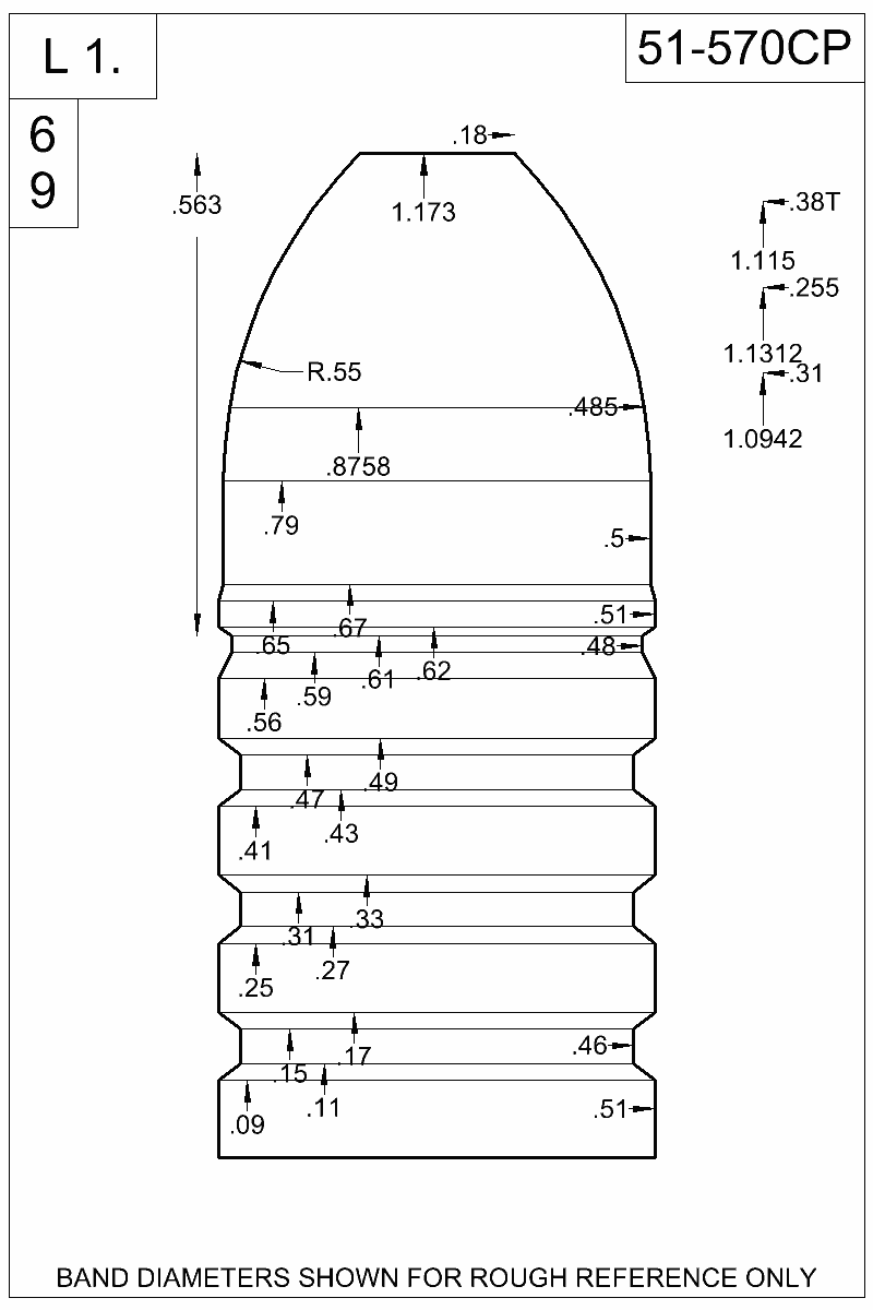 Dimensioned view of bullet 51-570CP.