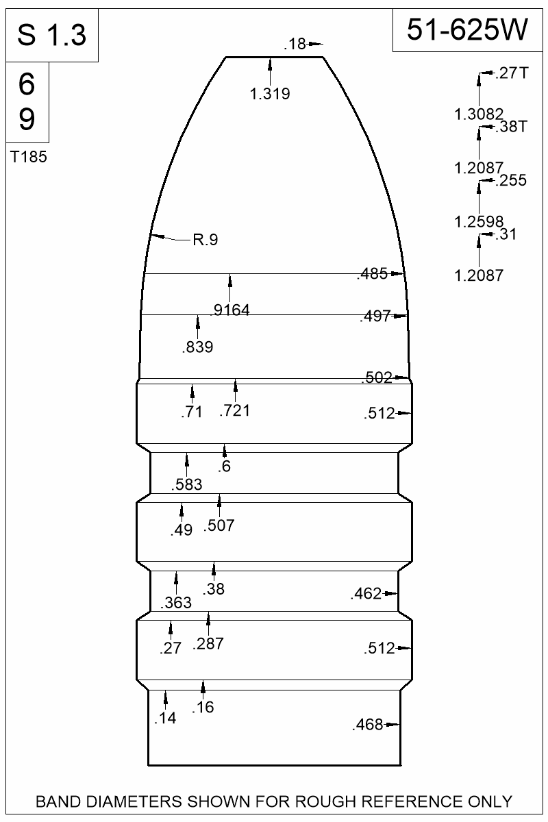 Dimensioned view of bullet 51-625W.