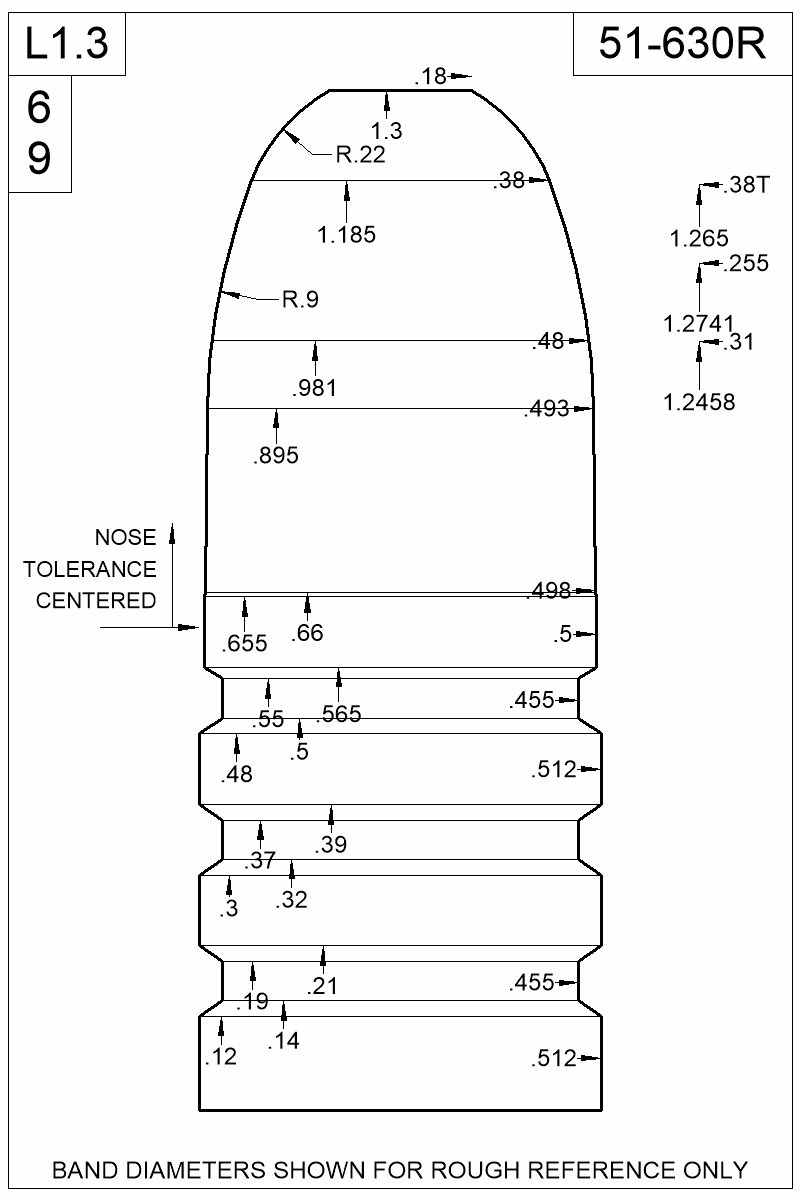 Dimensioned view of bullet 51-630R.