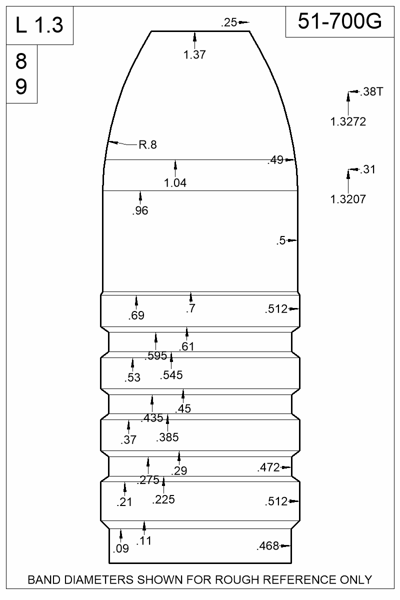 Dimensioned view of bullet 51-700G.