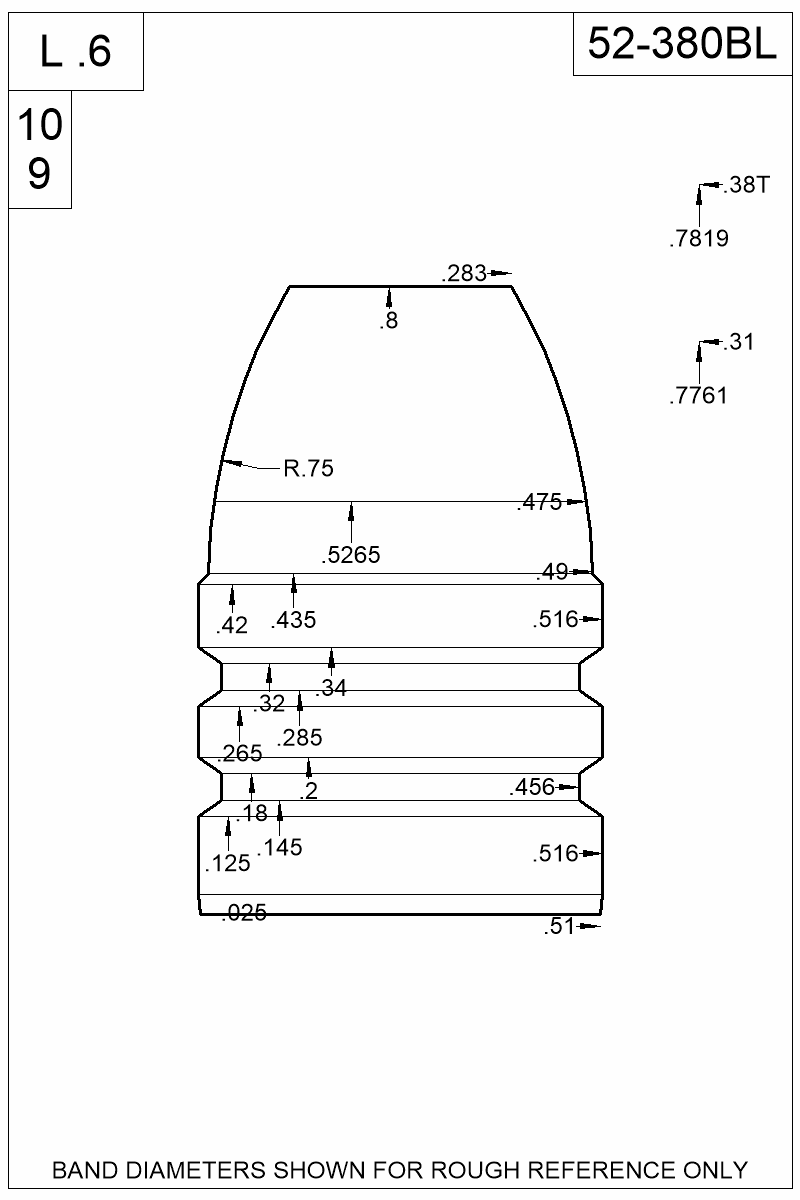 Dimensioned view of bullet 52-380BL.