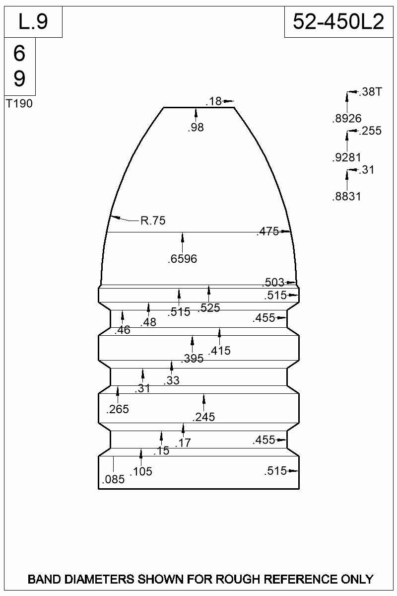 Dimensioned view of bullet 52-450L2.