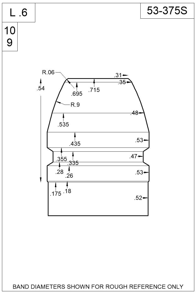 Dimensioned view of bullet 53-375S.