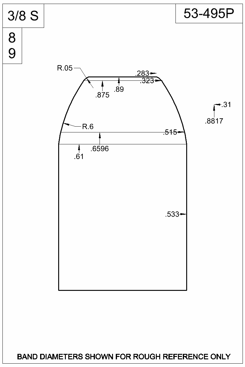 Dimensioned view of bullet 53-495P.
