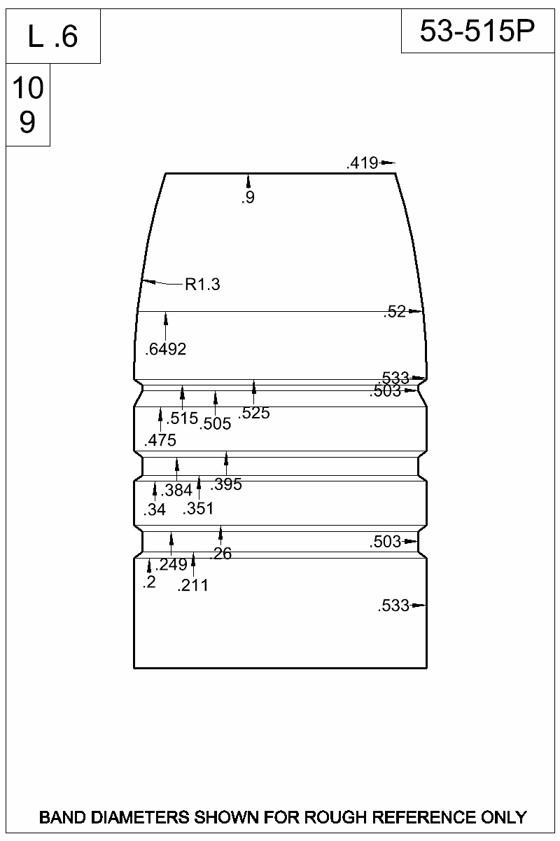 Dimensioned view of bullet 53-515P.