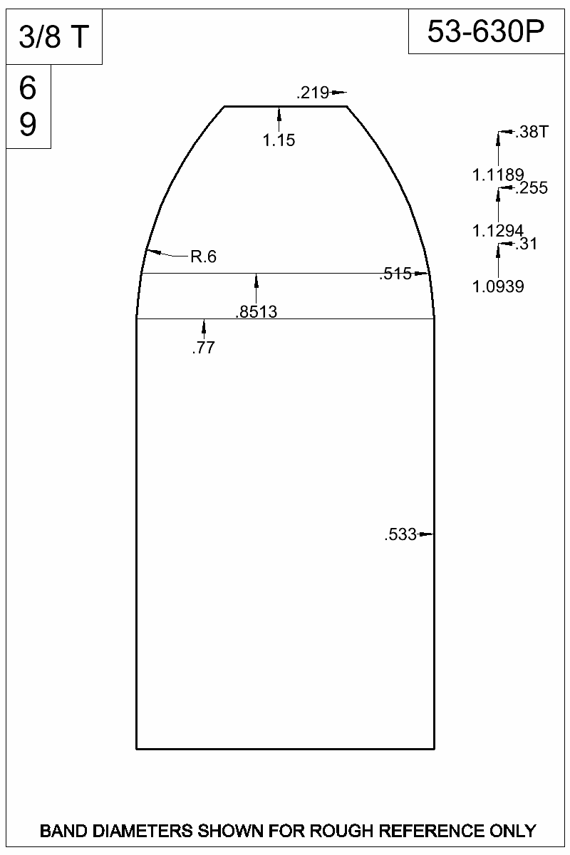 Dimensioned view of bullet 53-630P.