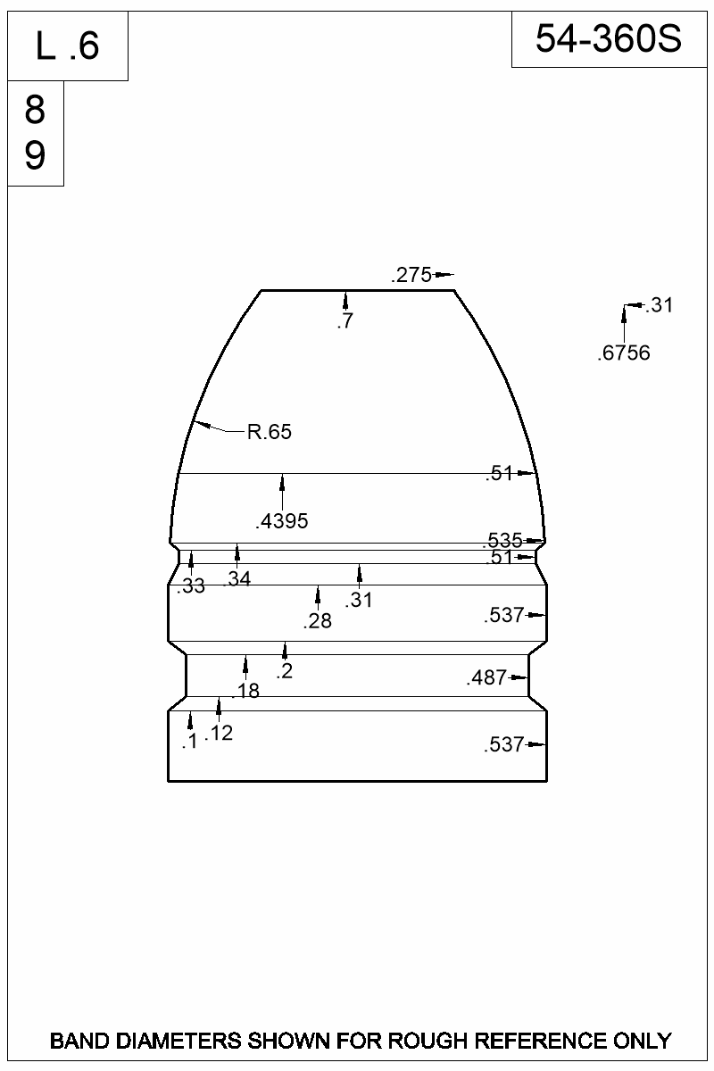 Dimensioned view of bullet 54-360S.