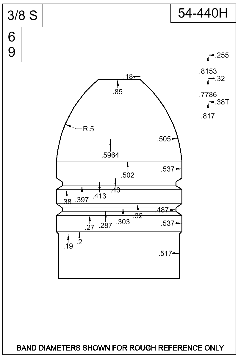 Dimensioned view of bullet 54-440H.