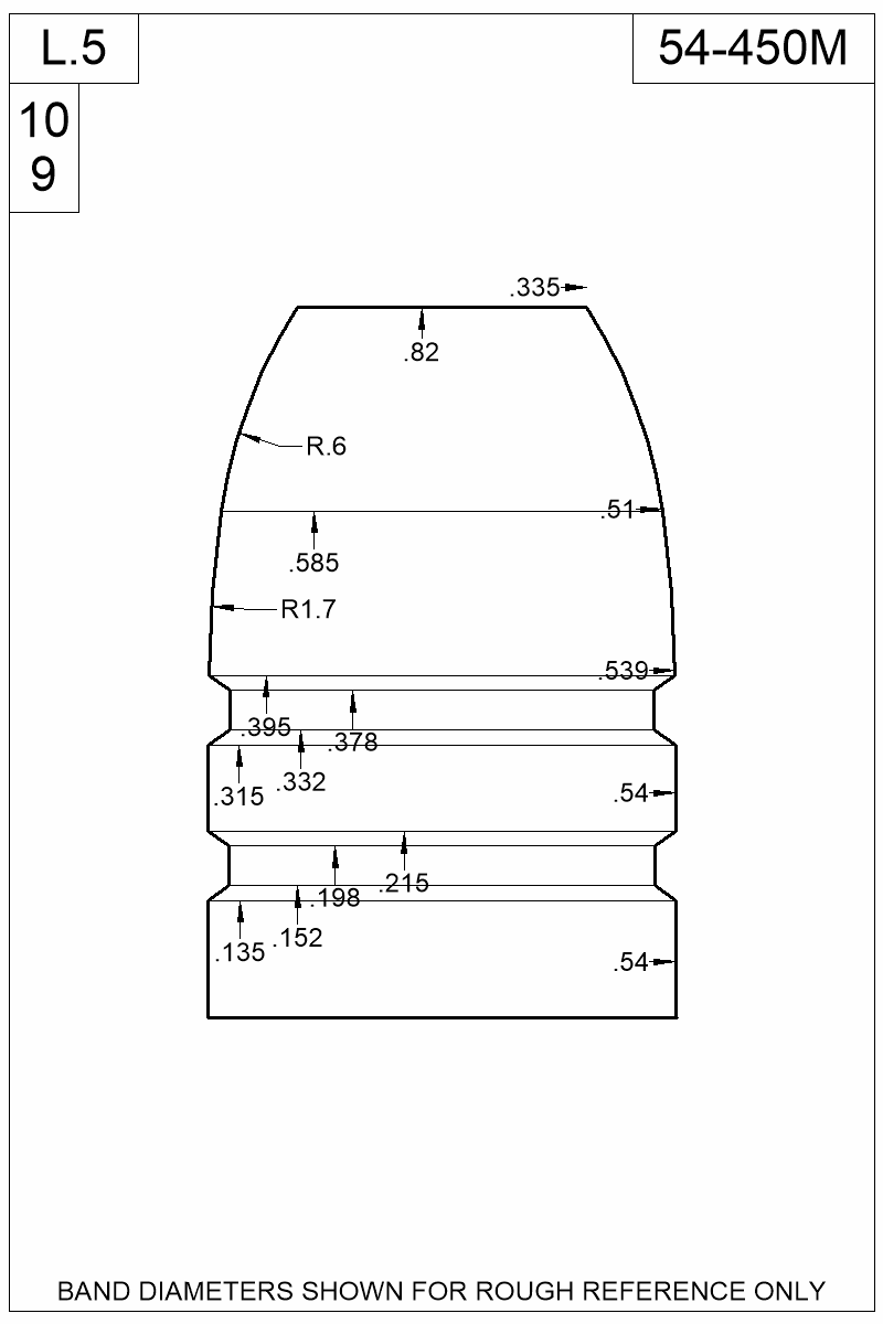 Dimensioned view of bullet 54-450M.