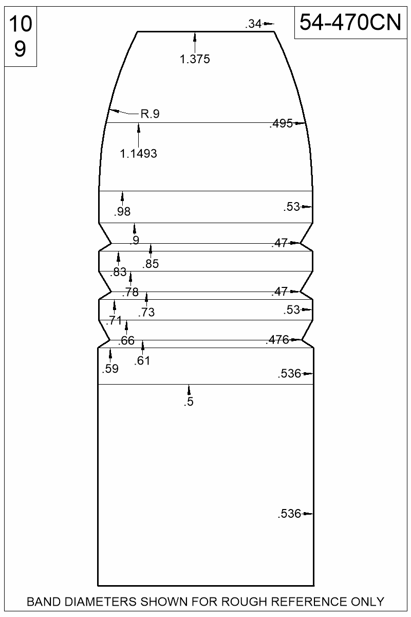Dimensioned view of bullet 54-470CN.