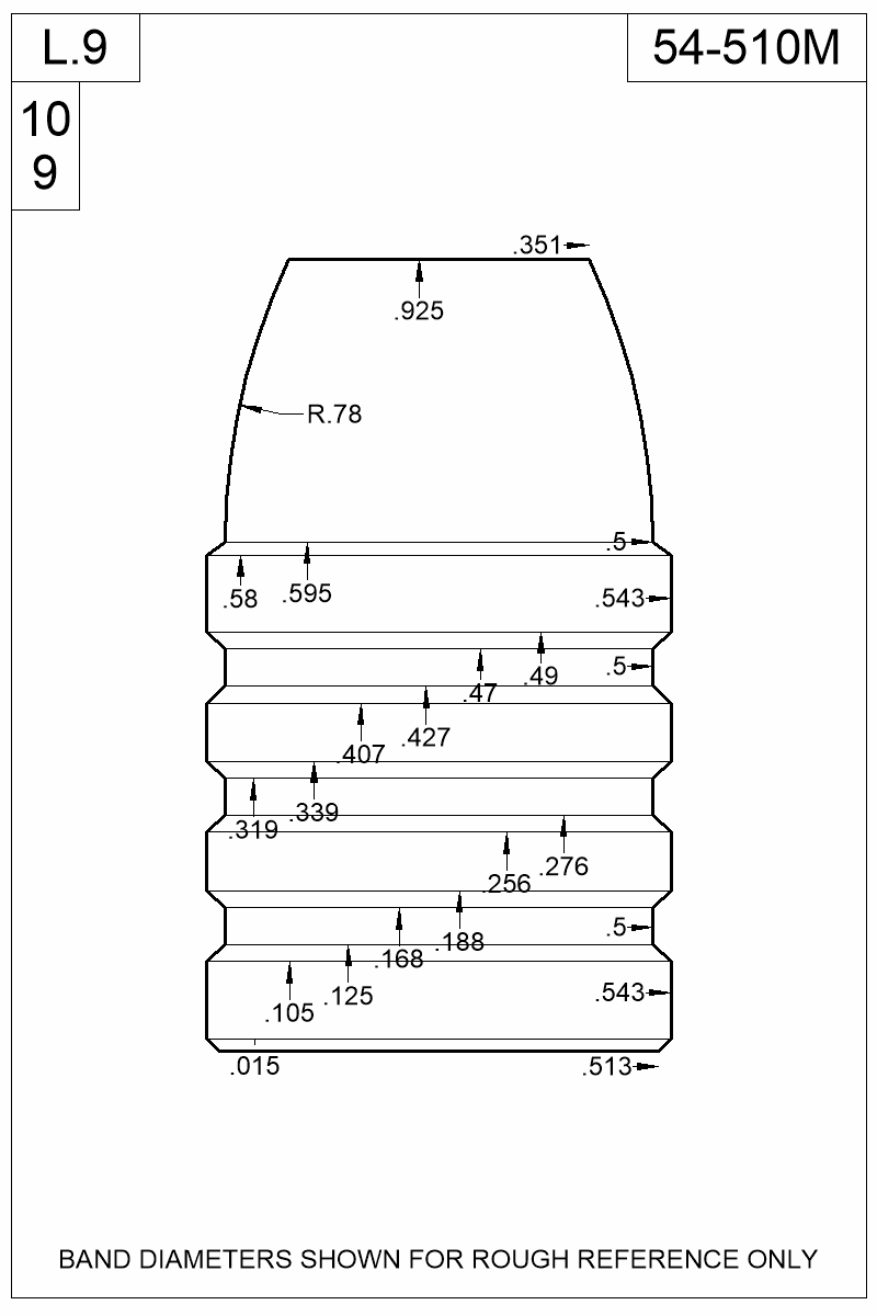 Dimensioned view of bullet 54-510M.