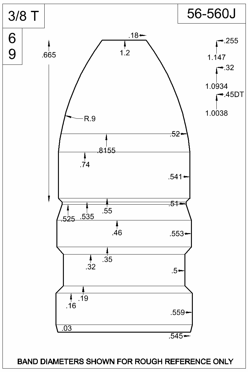 Dimensioned view of bullet 56-650J.