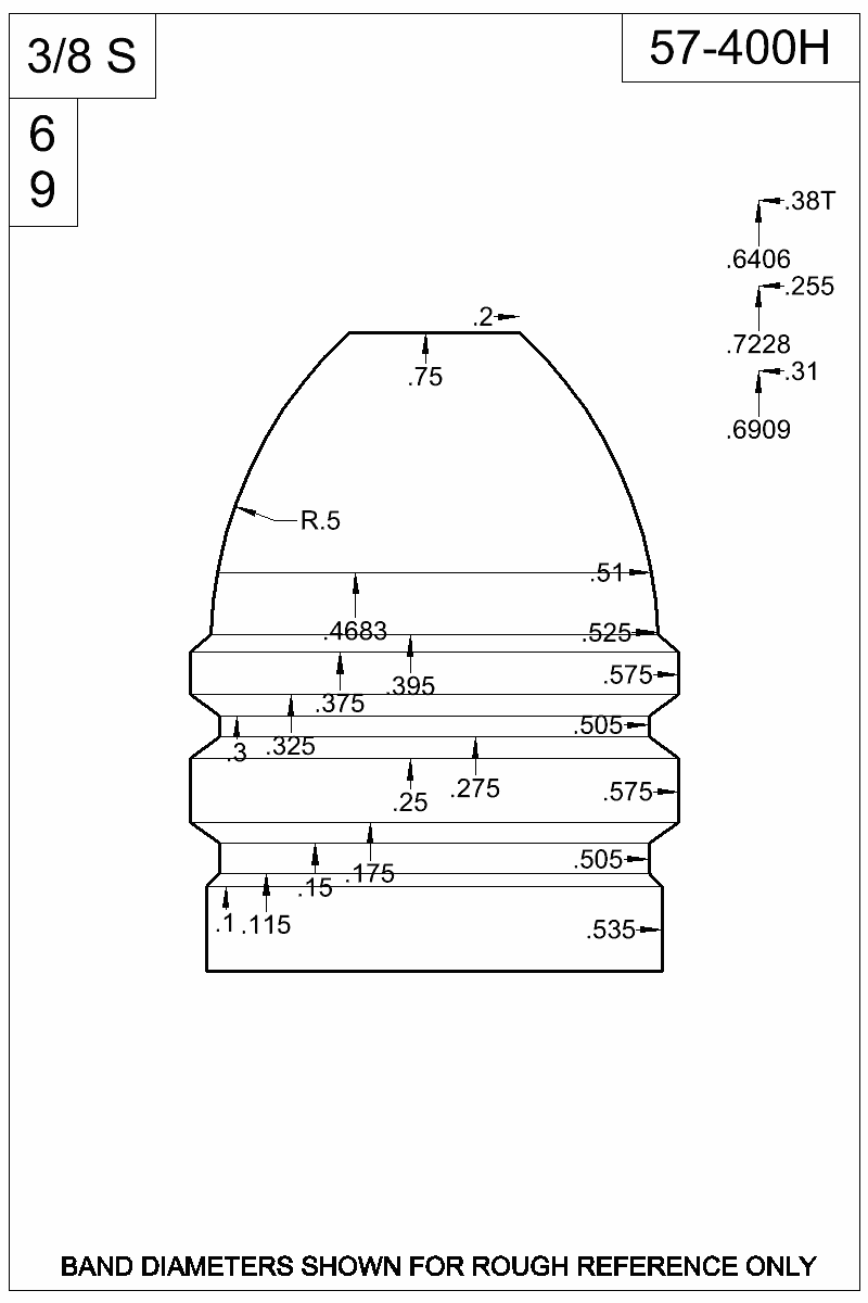 Dimensioned view of bullet 57-400H.