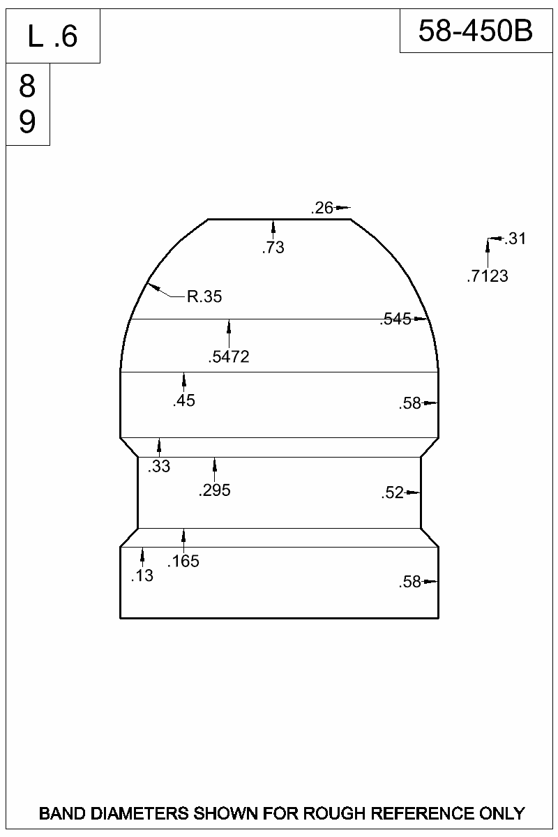 Dimensioned view of bullet 58-450B.