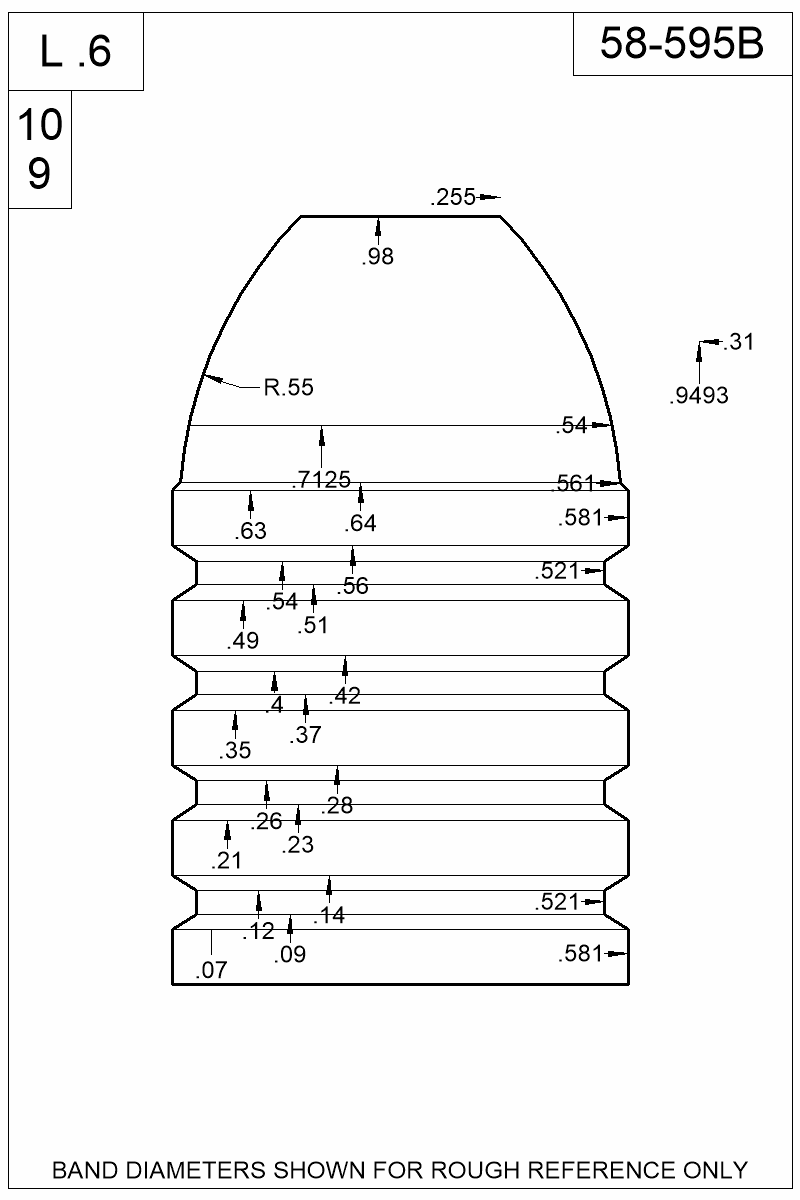 Dimensioned view of bullet 58-595B.