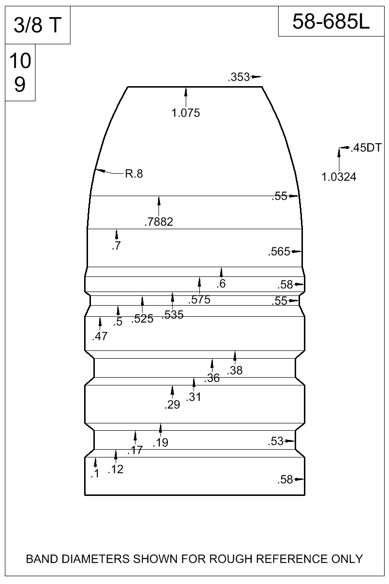 Dimensioned view of bullet 58-685L.