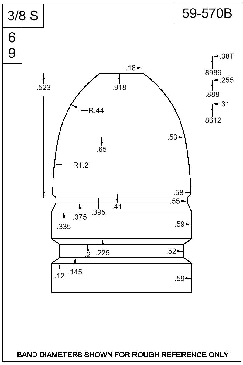 Dimensioned view of bullet 59-570B.