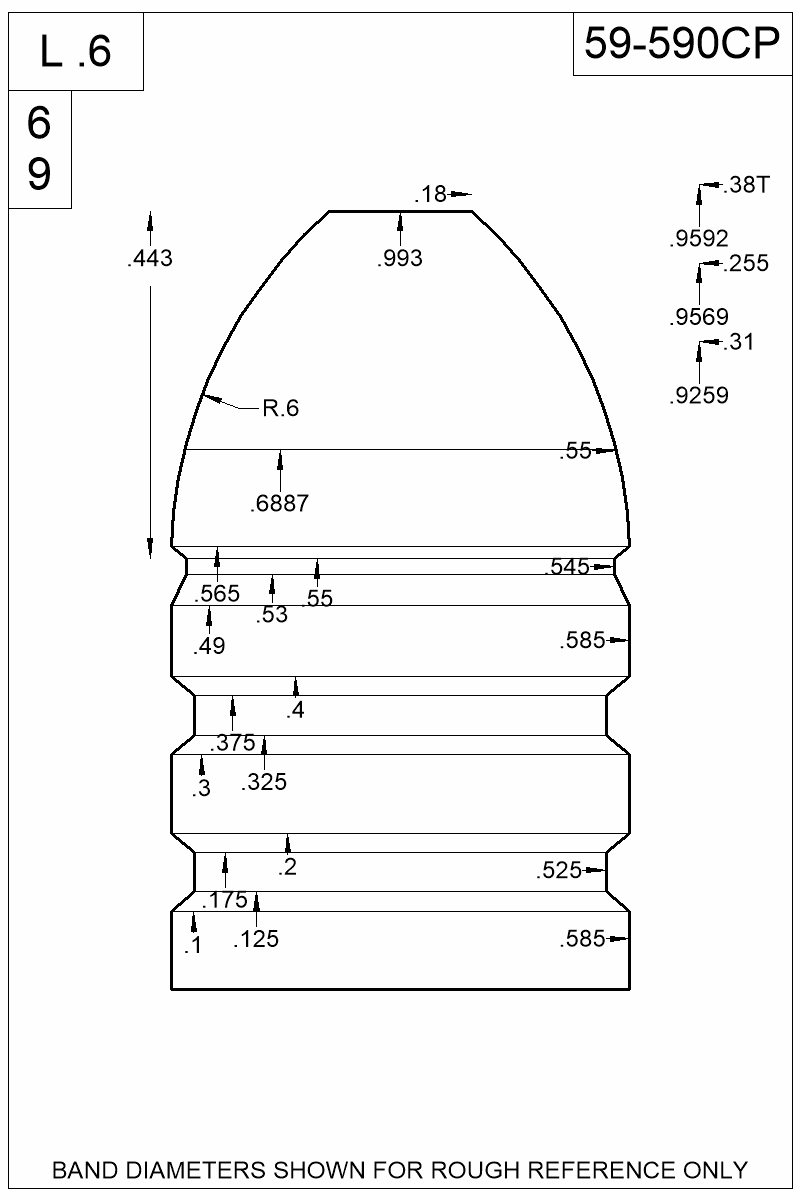 Dimensioned view of bullet 59-590CP.