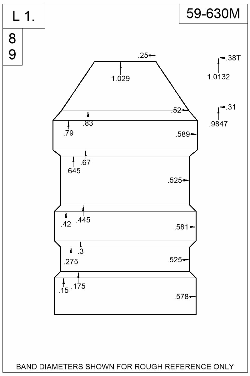 Dimensioned view of bullet 59-630M.
