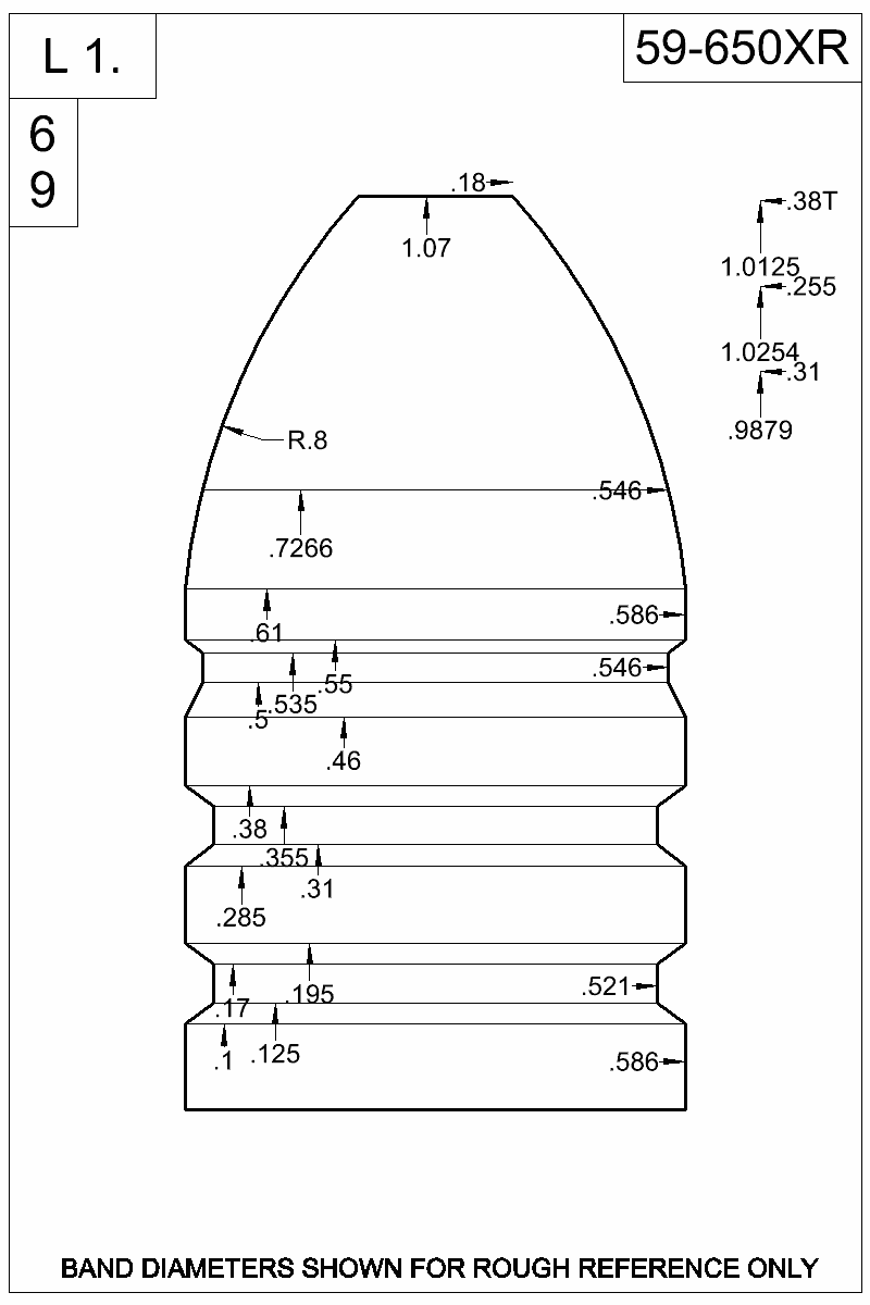 Dimensioned view of bullet 59-650XR.