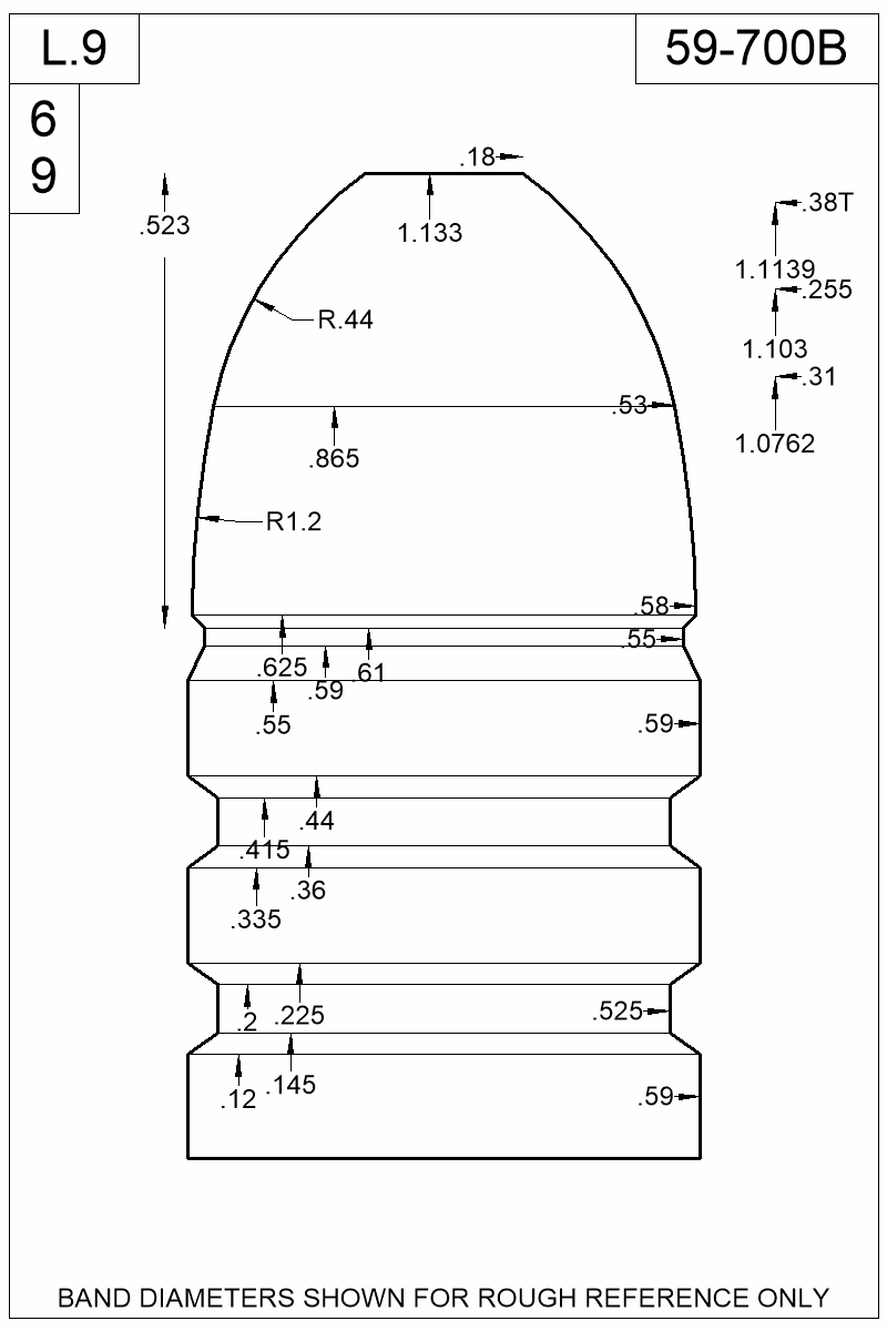 Dimensioned view of bullet 59-700B.