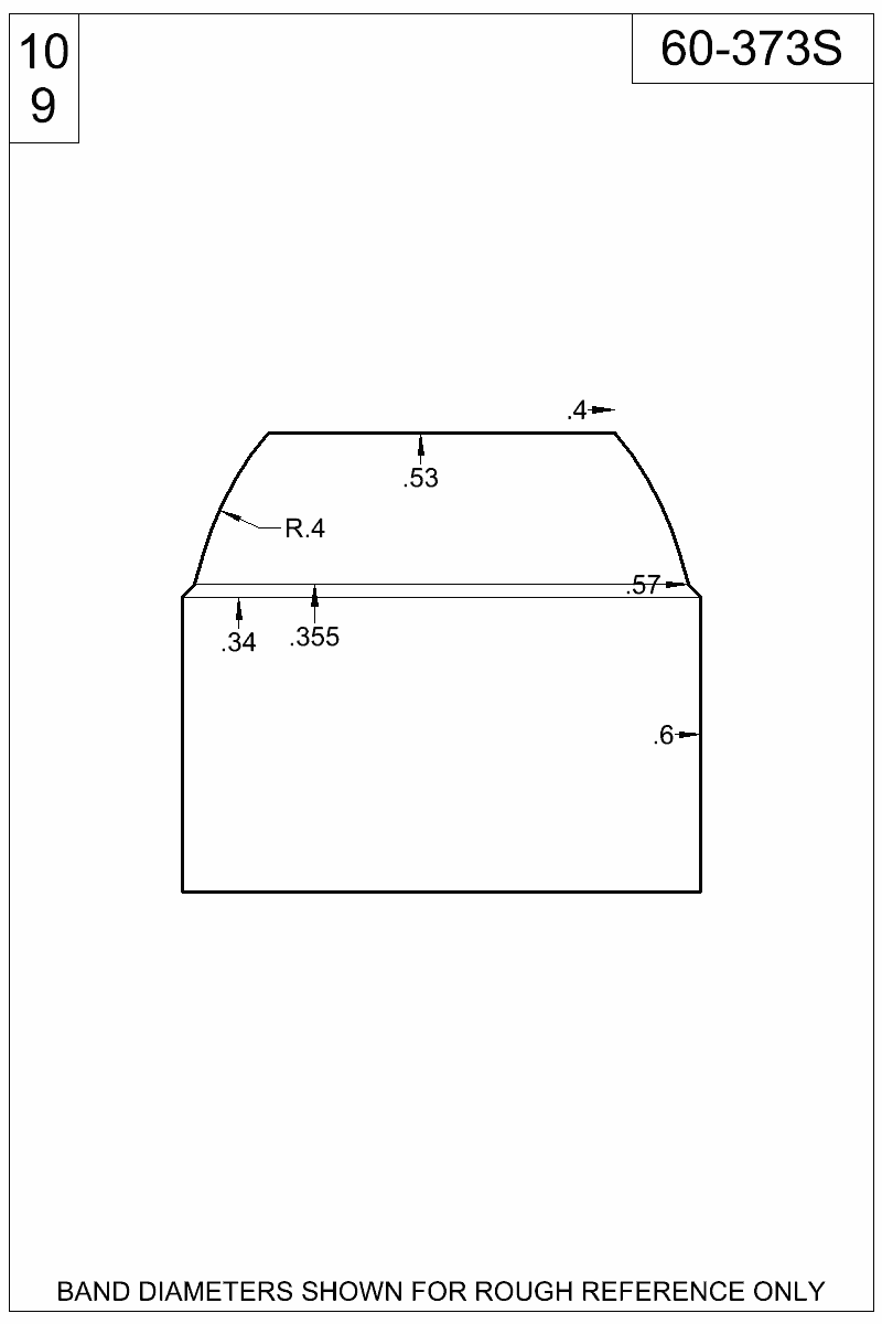 Dimensioned view of bullet 60-373S.