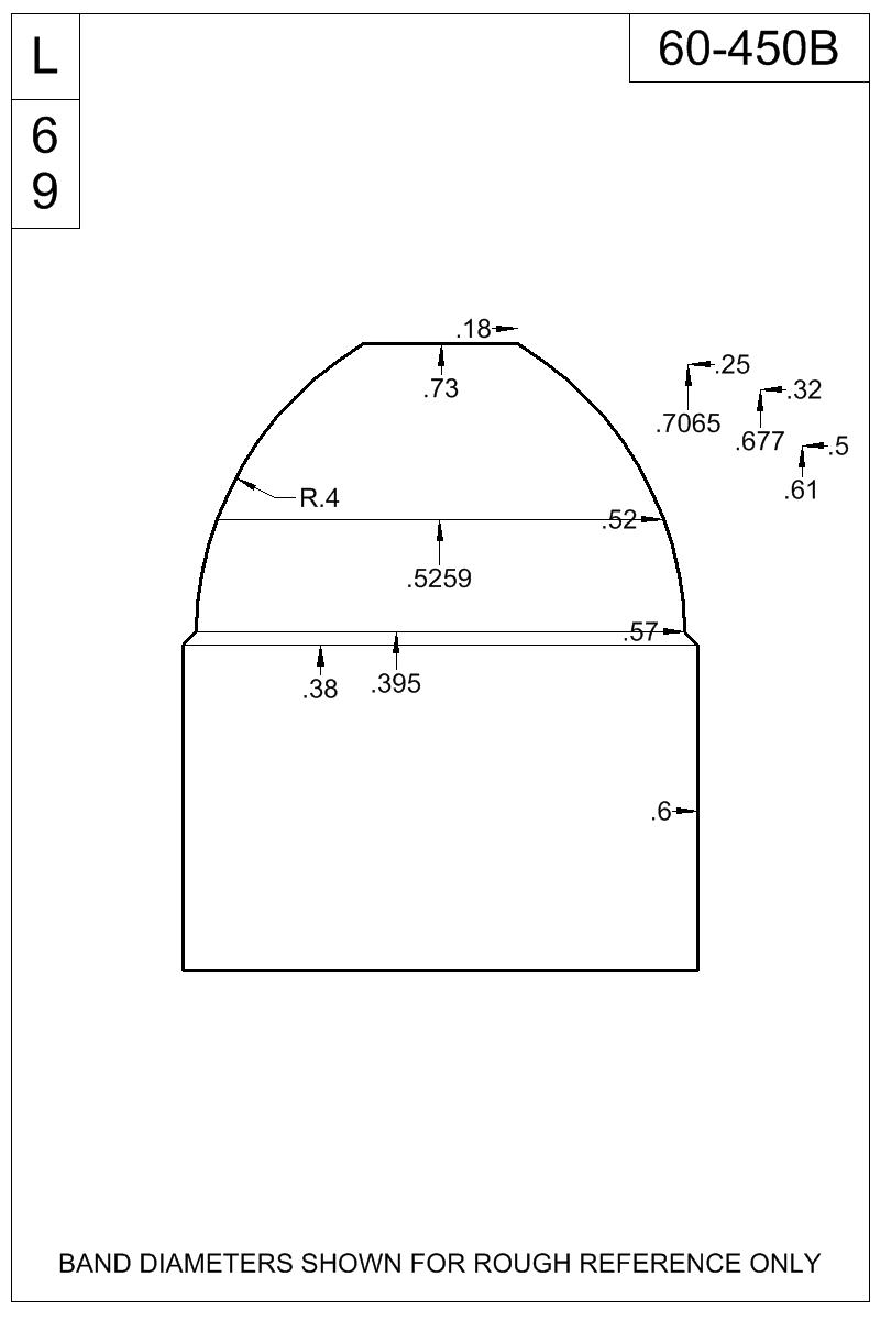 Dimensioned view of bullet 60-450B.