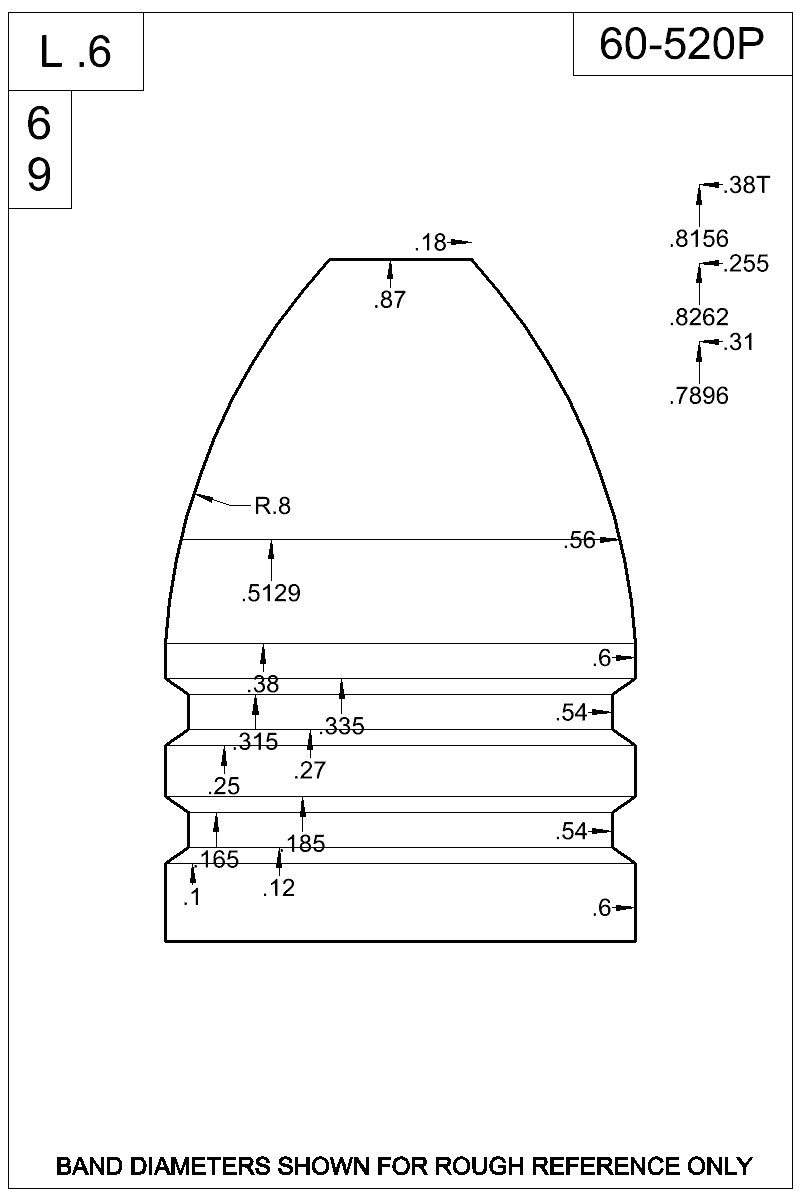 Dimensioned view of bullet 60-520P.