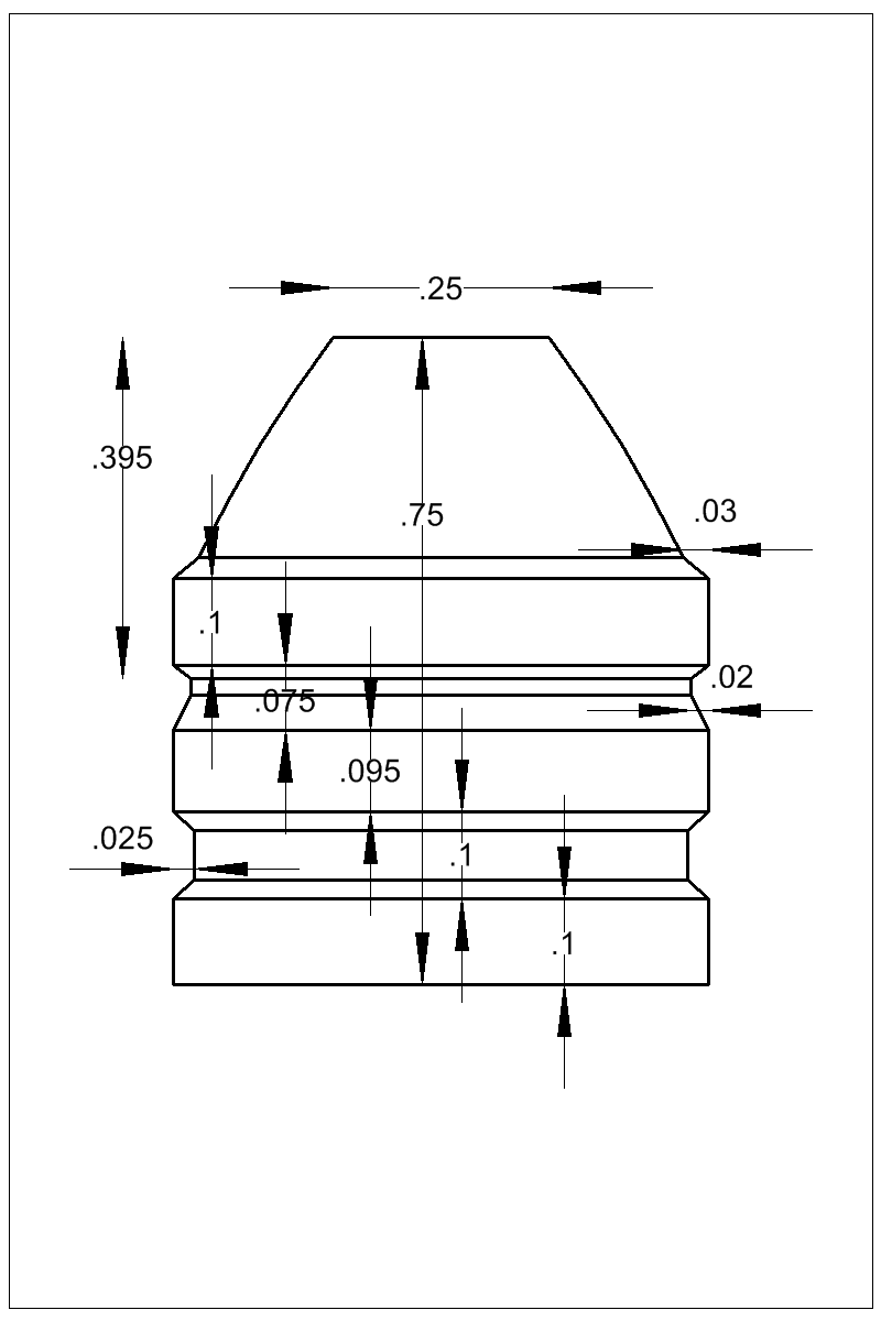 Dimensioned view of bullet 62-525C.