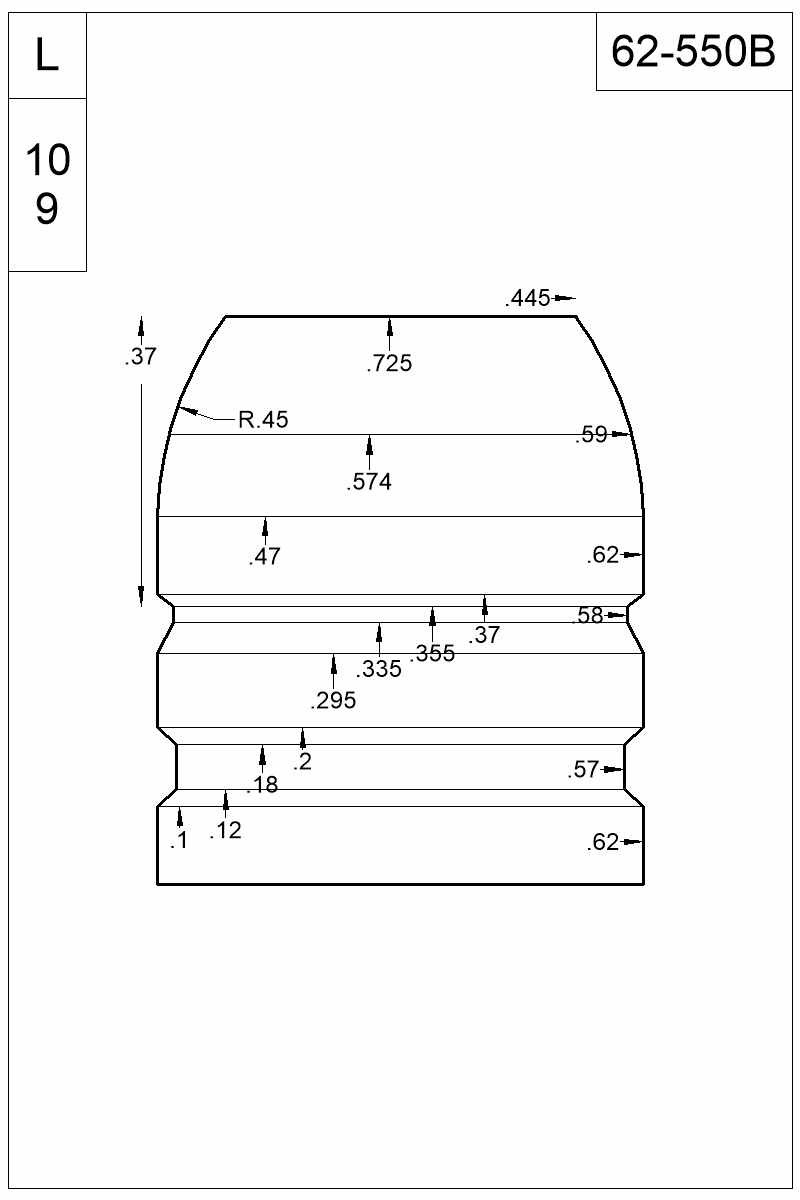 Dimensioned view of bullet 62-550B.